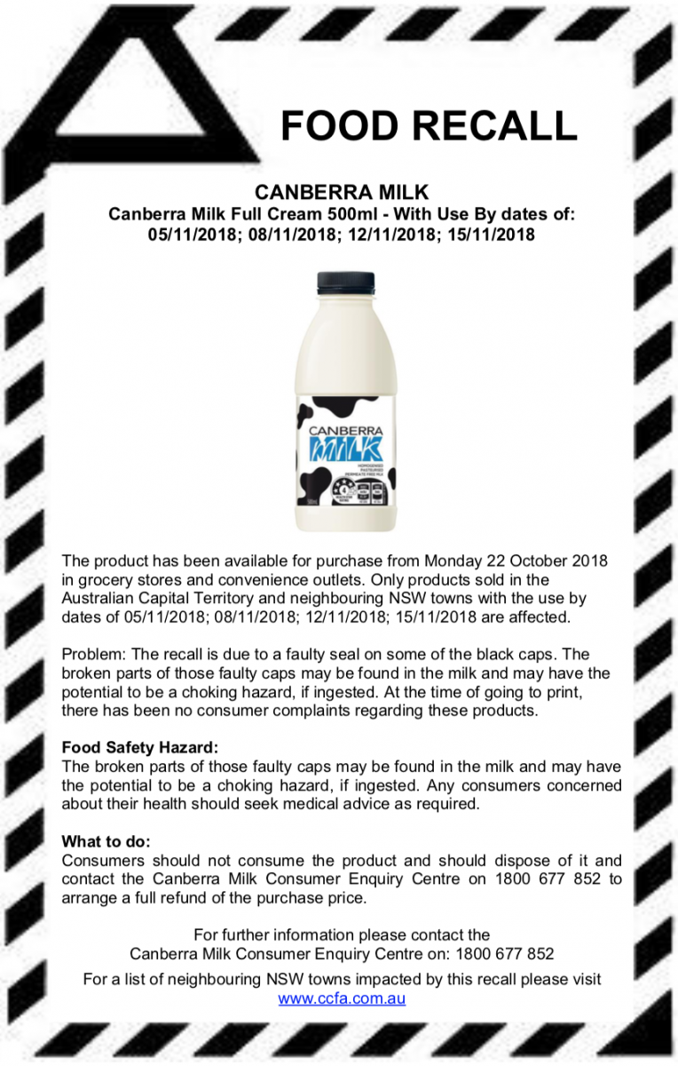 Canberra Milk undertakes recall of some Full Cream products